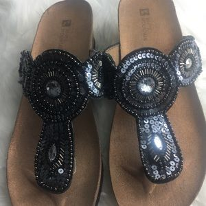 White Mountain sequined sandals  sz 8W